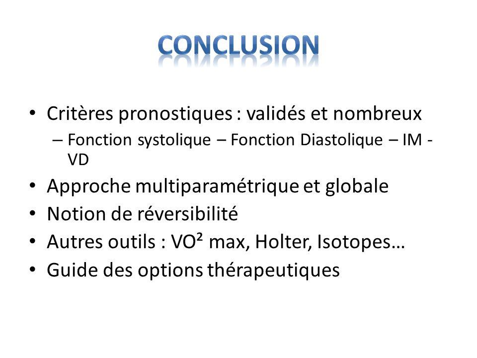 Conclusion Critères pronostiques : validés et nombreux