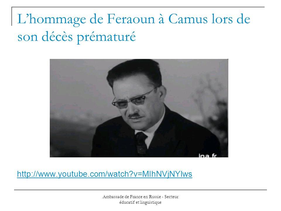 L'hommage de Feraoun à Camus lors de son décès prématuré