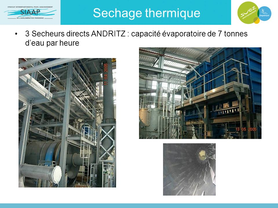 Sechage thermique 3 Secheurs directs ANDRITZ : capacité évaporatoire de 7 tonnes d'eau par heure