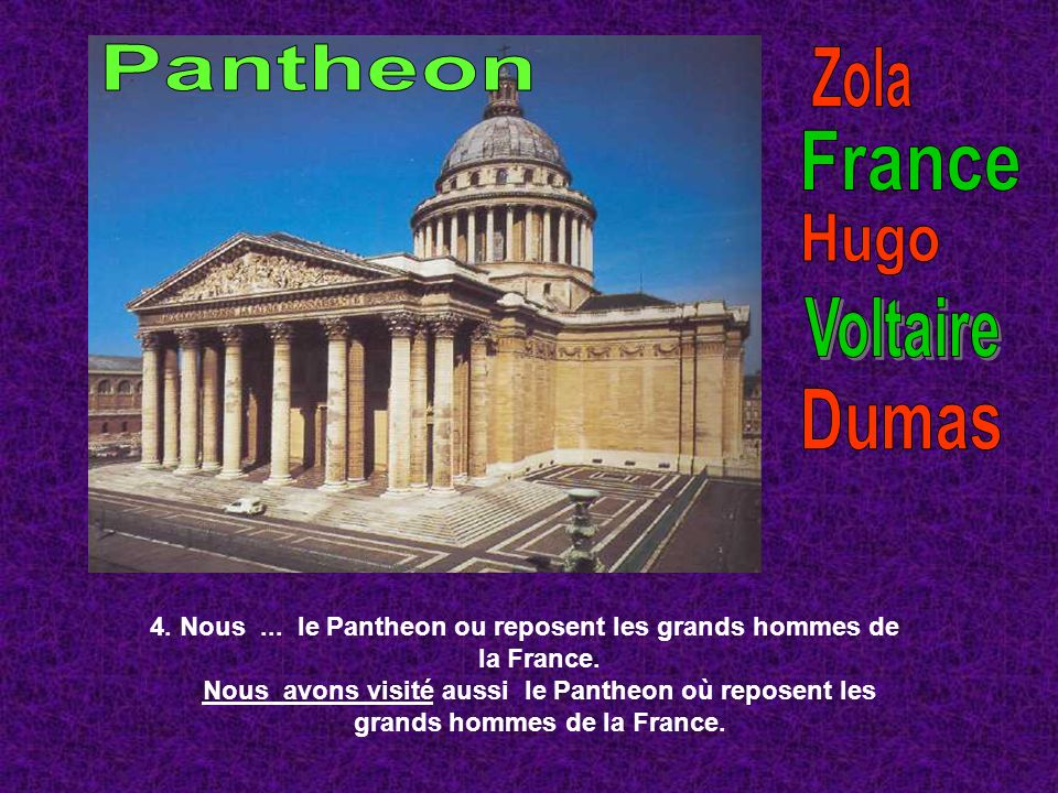 Pantheon Zola France Hugo Voltaire Dumas