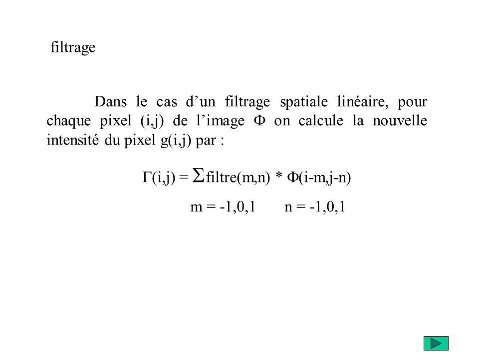 filtrage Dans le cas d'un filtrage spatiale linéaire, pour chaque pixel (i,j) de l'image F on calcule la nouvelle intensité du pixel g(i,j) par :