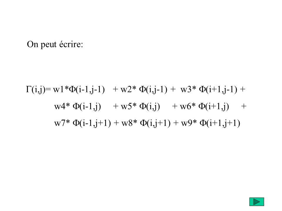 On peut écrire: G(i,j)= w1*F(i-1,j-1) + w2* F(i,j-1) + w3* F(i+1,j-1) + w4* F(i-1,j) + w5* F(i,j) + w6* F(i+1,j) +