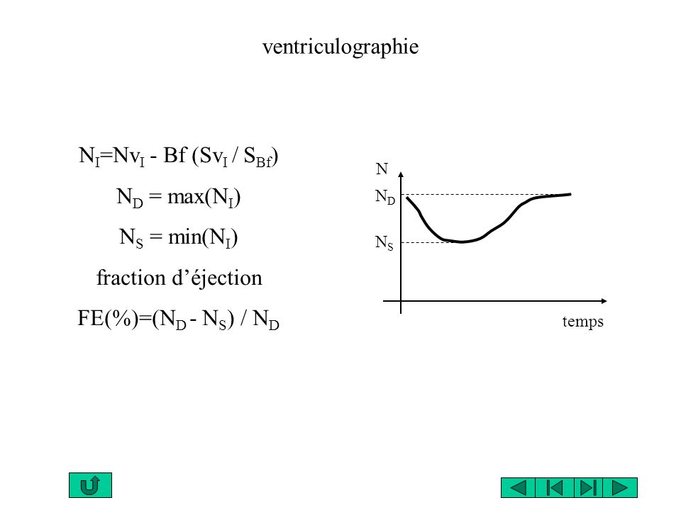 ventriculographie NI=NvI - Bf (SvI / SBf) ND = max(NI) NS = min(NI)