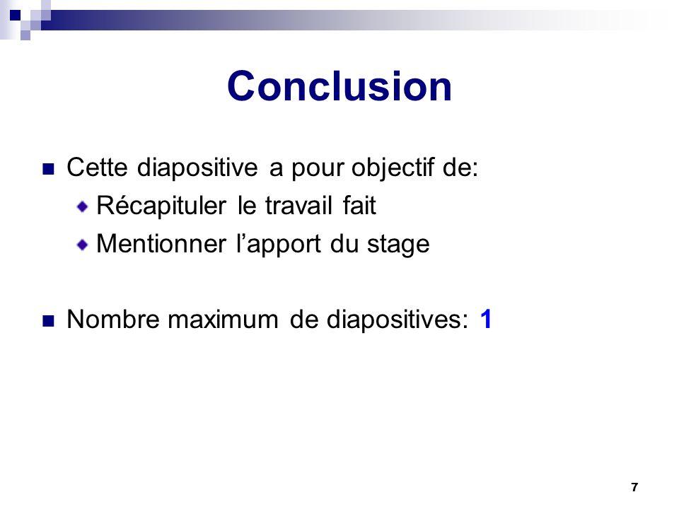Conclusion Cette diapositive a pour objectif de: