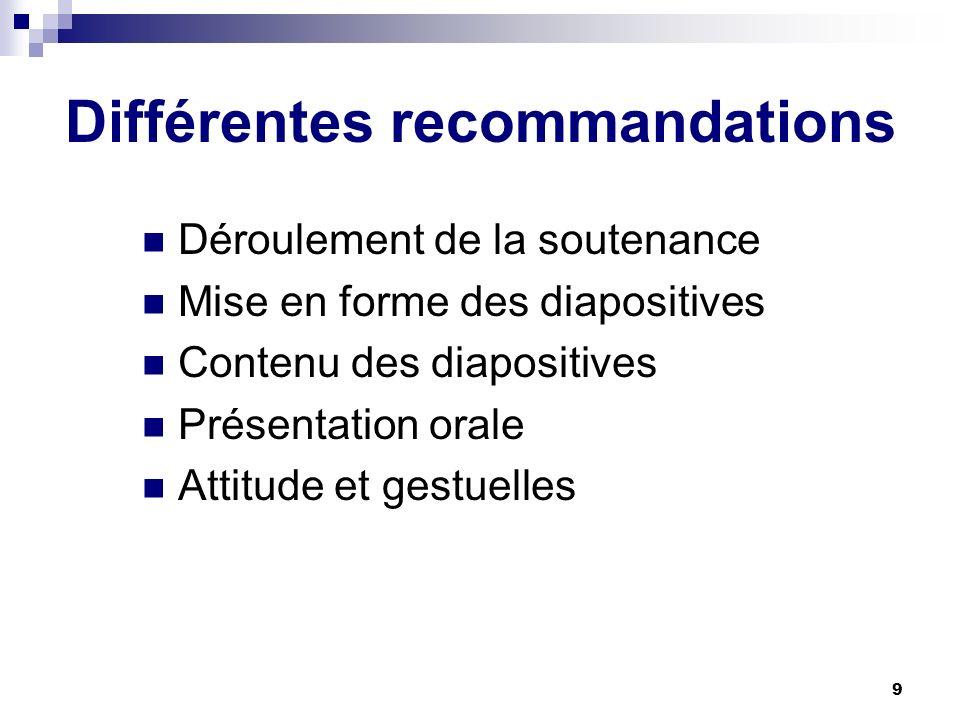 Différentes recommandations