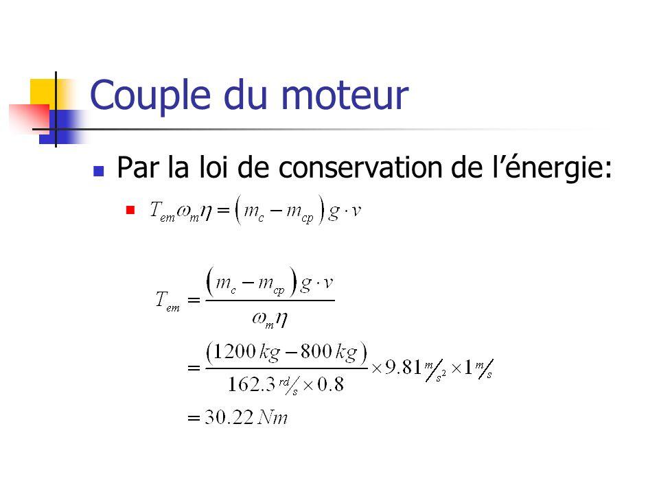Couple du moteur Par la loi de conservation de l'énergie: