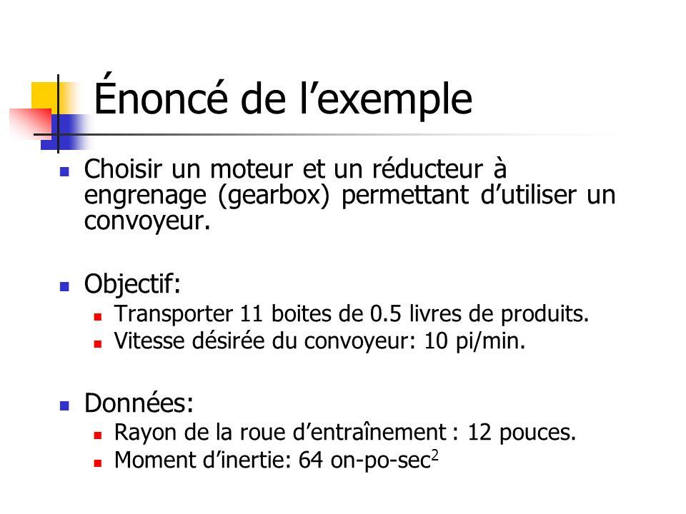 Énoncé de l'exemple Choisir un moteur et un réducteur à engrenage (gearbox) permettant d'utiliser un convoyeur.
