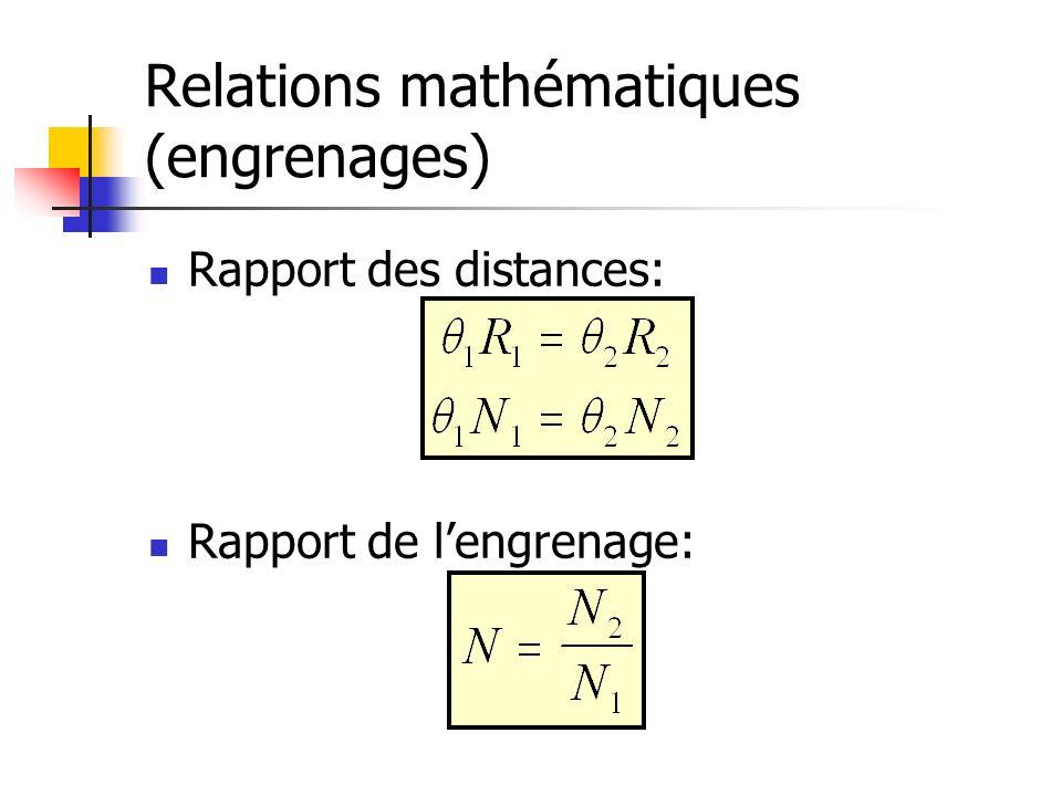 Relations mathématiques (engrenages)