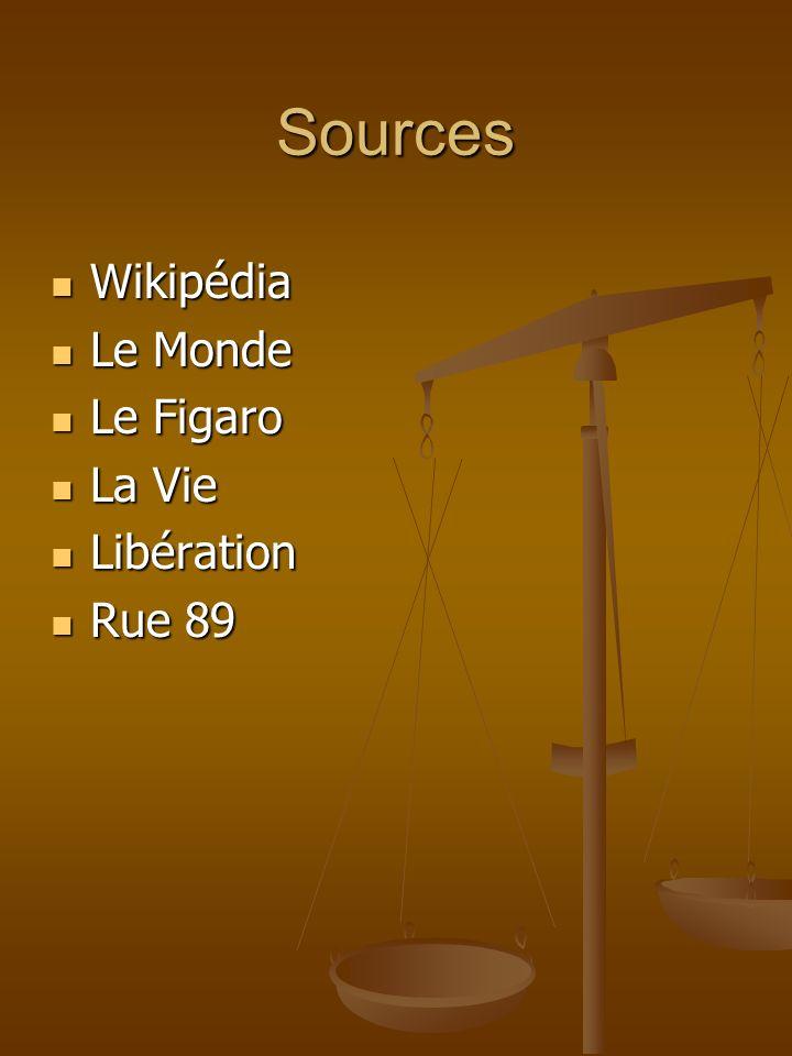 Sources Wikipédia Le Monde Le Figaro La Vie Libération Rue 89