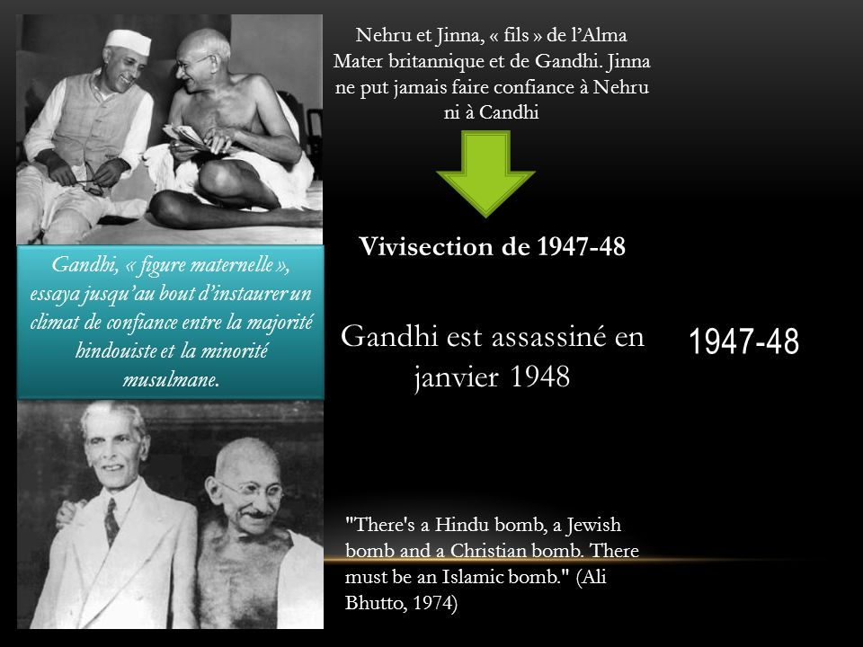 1947-48 Gandhi est assassiné en janvier 1948 Vivisection de 1947-48