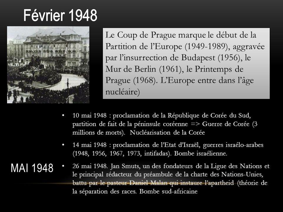 Février 1948 Mai 1948 Le Coup de Prague marque le début de la