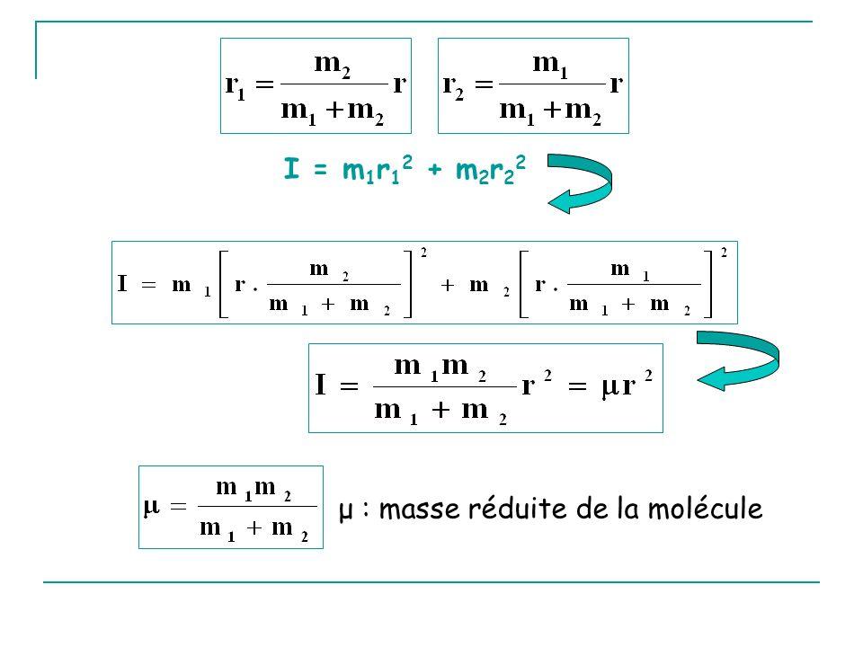 I = m1r12 + m2r22 μ : masse réduite de la molécule