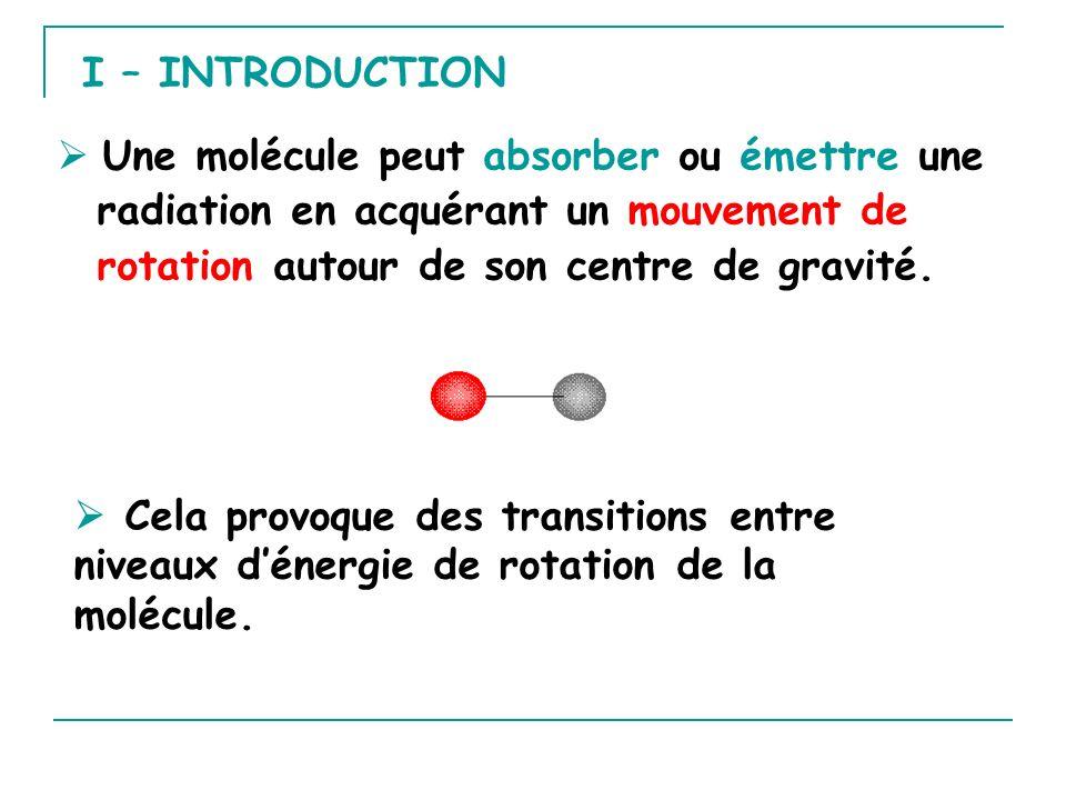 I – INTRODUCTION  Une molécule peut absorber ou émettre une radiation en acquérant un mouvement de rotation autour de son centre de gravité.