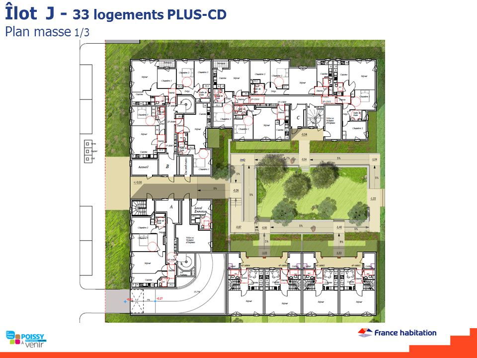 Îlot J - 33 logements PLUS-CD Plan masse 1/3