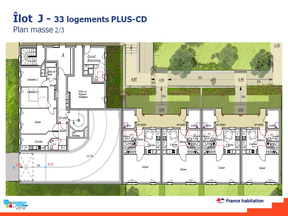 Îlot J - 33 logements PLUS-CD Plan masse 2/3