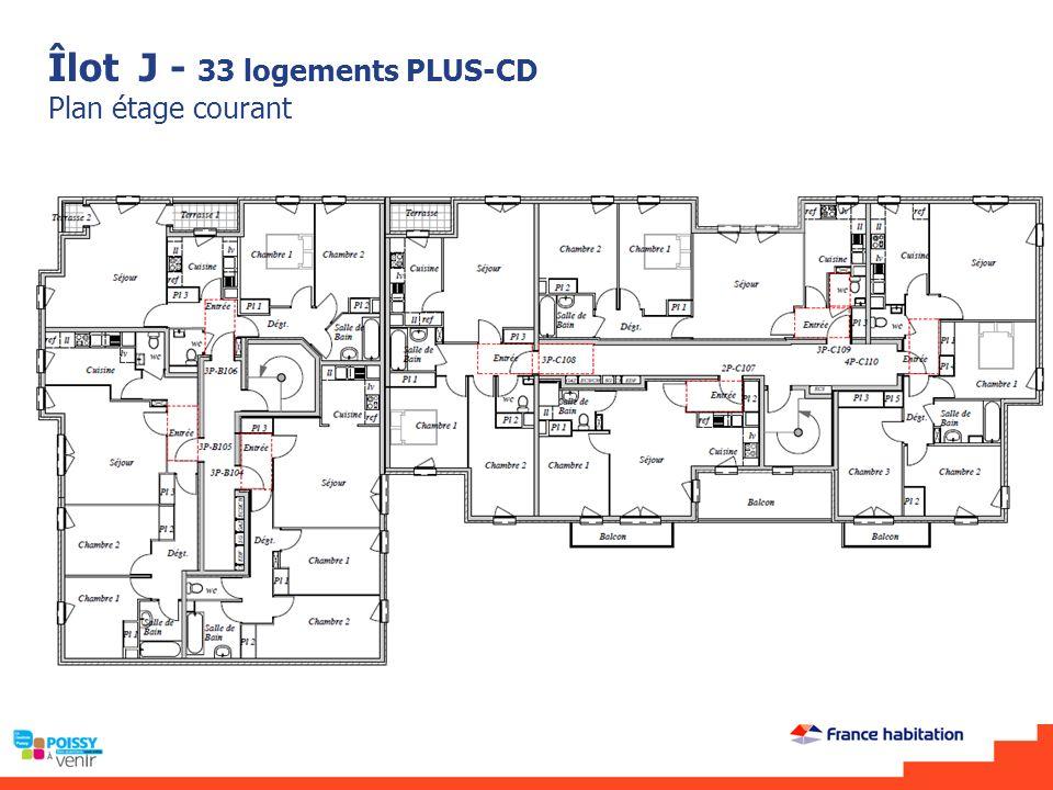 Îlot J - 33 logements PLUS-CD Plan étage courant