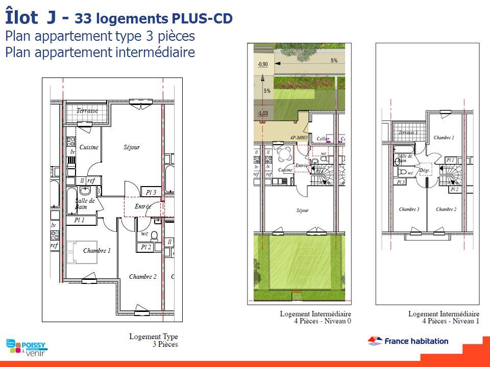Îlot J - 33 logements PLUS-CD Plan appartement type 3 pièces Plan appartement intermédiaire