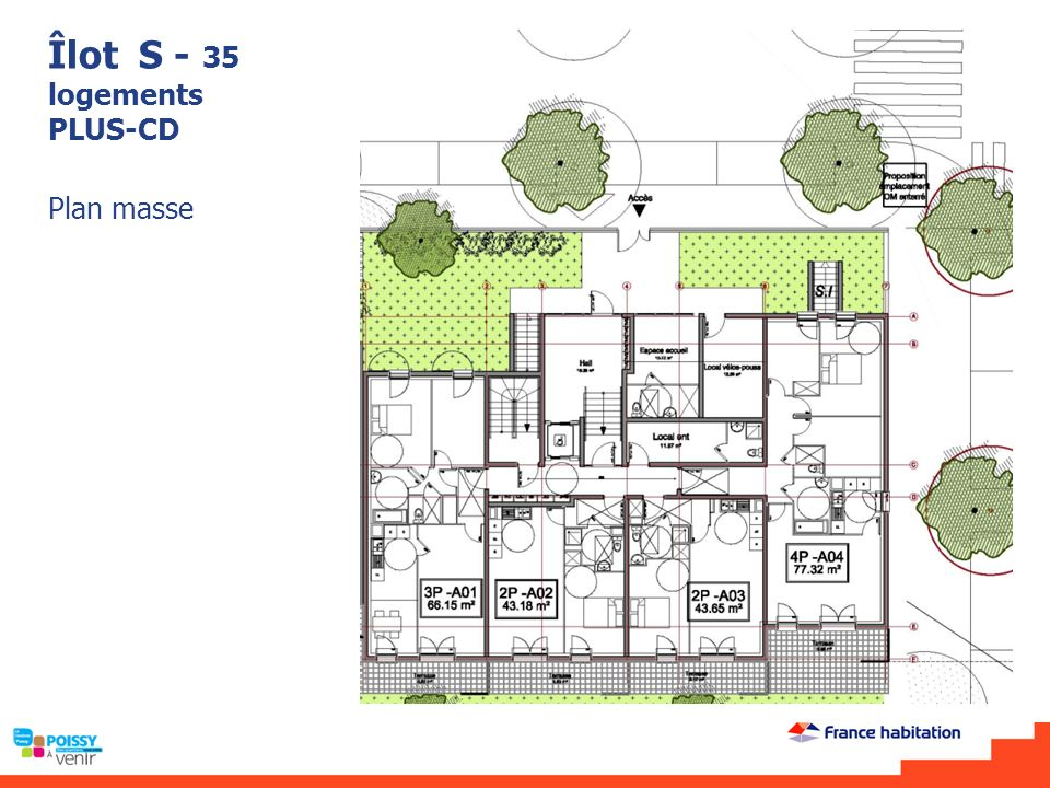 Îlot S - 35 logements PLUS-CD Plan masse
