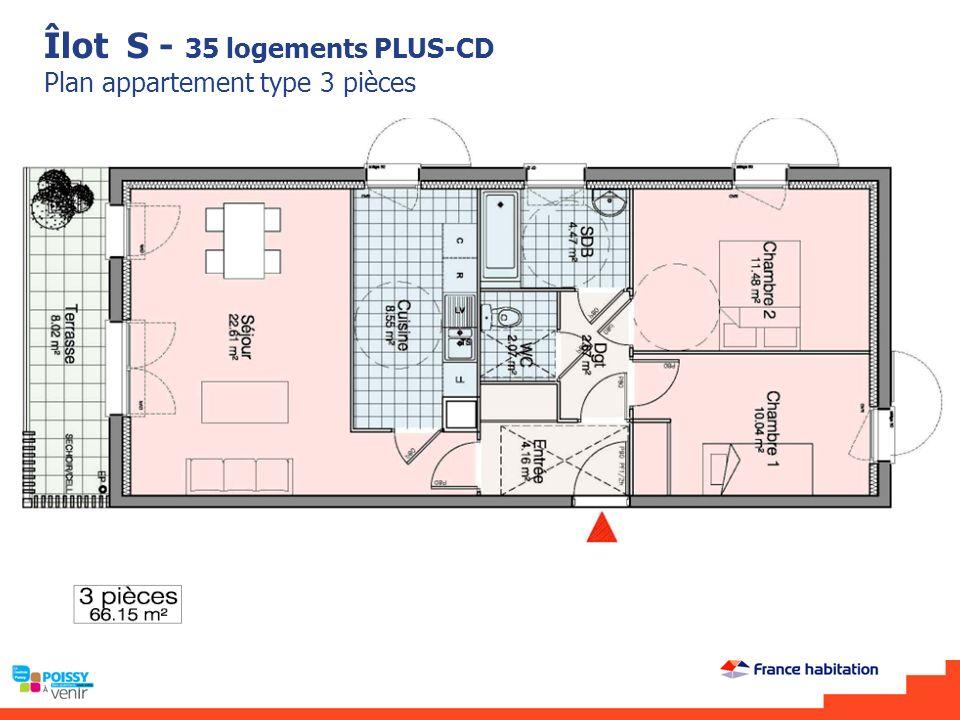 Îlot S - 35 logements PLUS-CD Plan appartement type 3 pièces