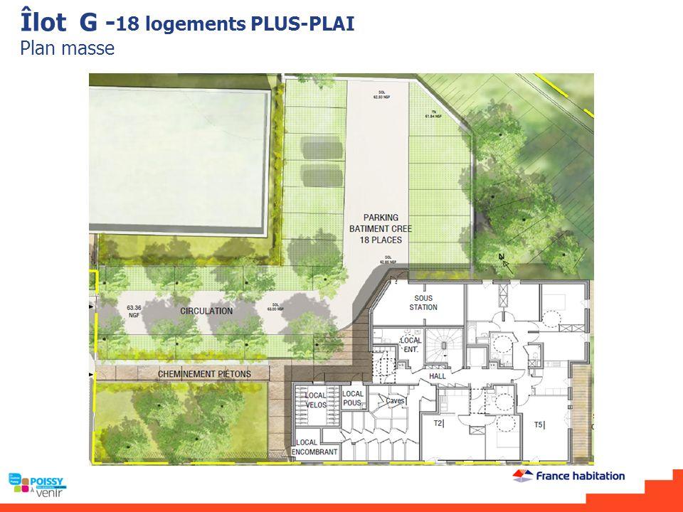 Îlot G -18 logements PLUS-PLAI Plan masse