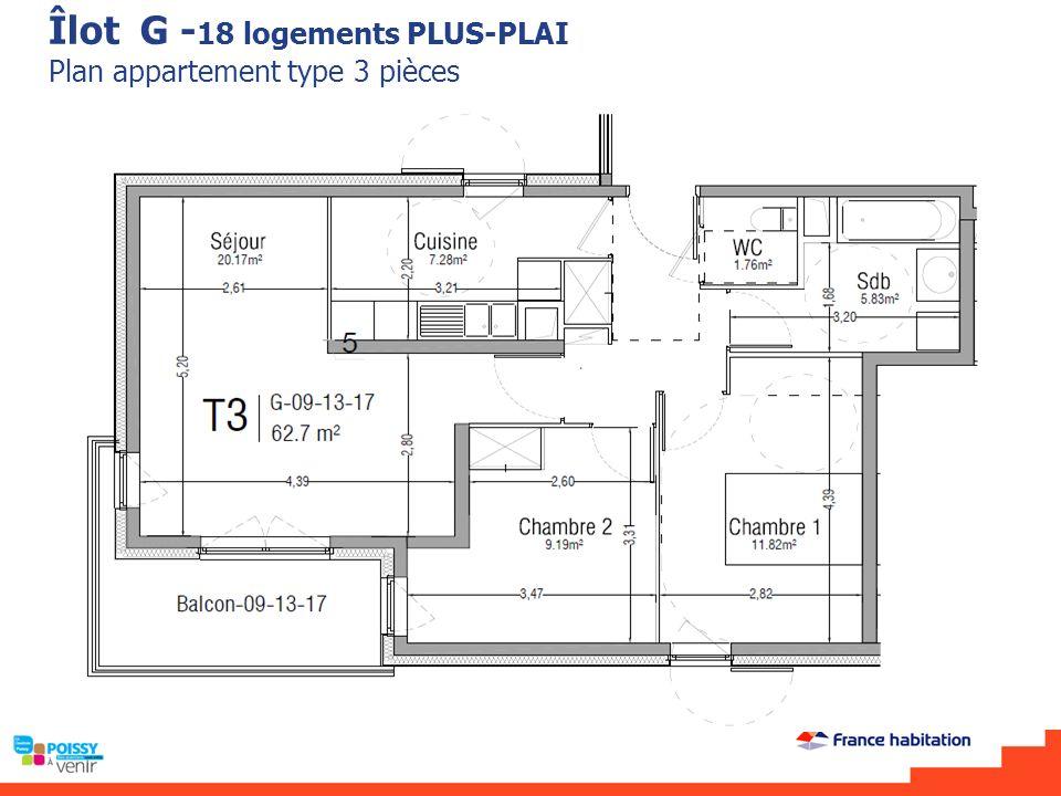 Îlot G -18 logements PLUS-PLAI Plan appartement type 3 pièces