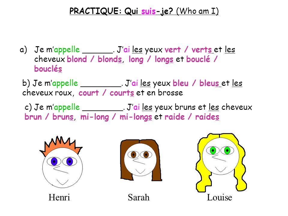 PRACTIQUE: Qui suis-je (Who am I)