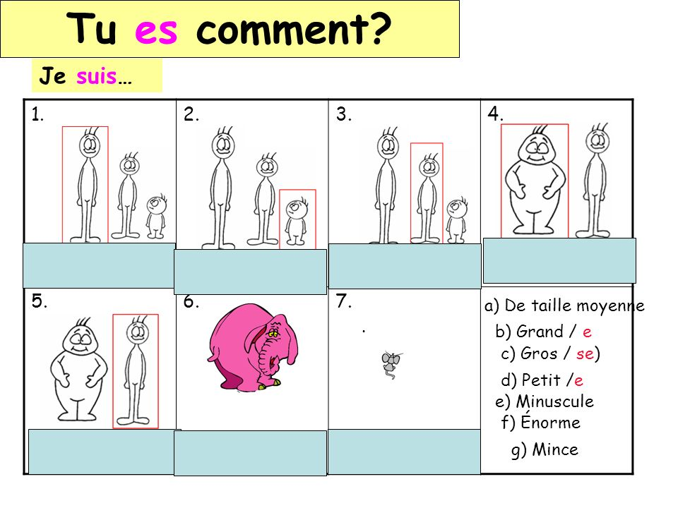 Tu es comment Je suis… 1. 2. 3. 4. 5. 6. 7. Grand / e Petit /e