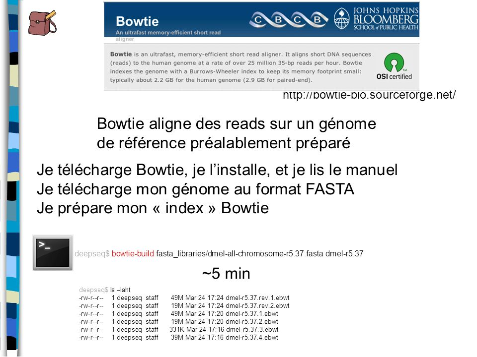 Je télécharge Bowtie, je l'installe, et je lis le manuel