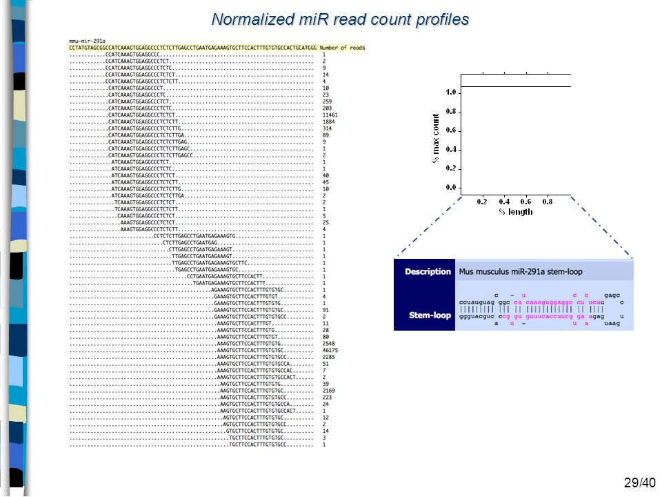 Normalized miR read count profiles