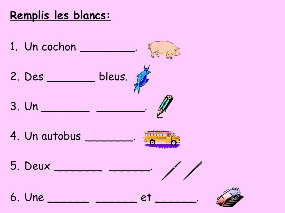 Remplis les blancs: Un cochon ________. Des _______ bleus. Un _______ _______. Un autobus _______.