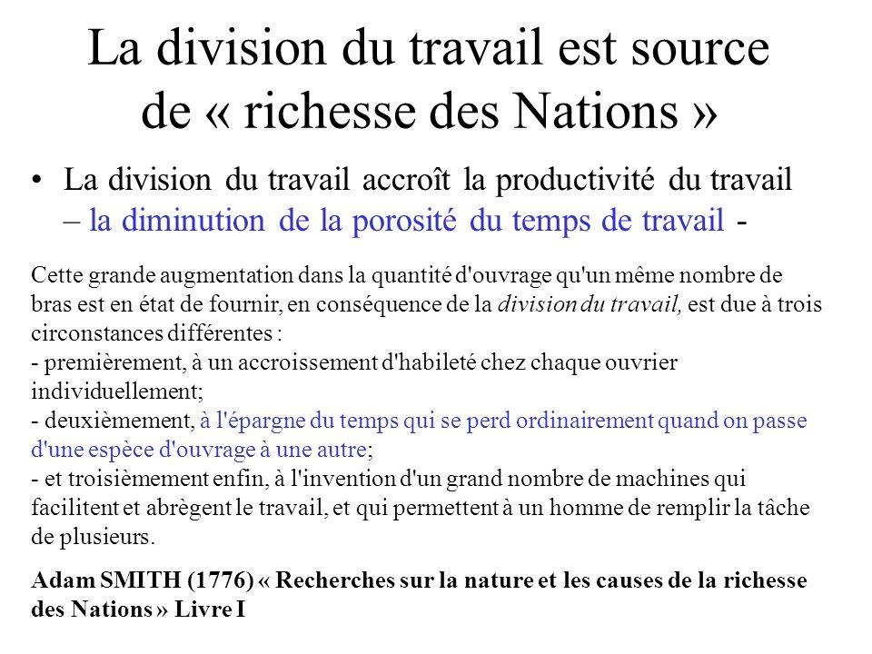 La division du travail est source de « richesse des Nations »