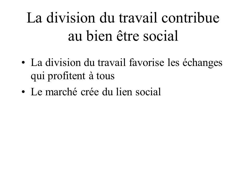 La division du travail contribue au bien être social