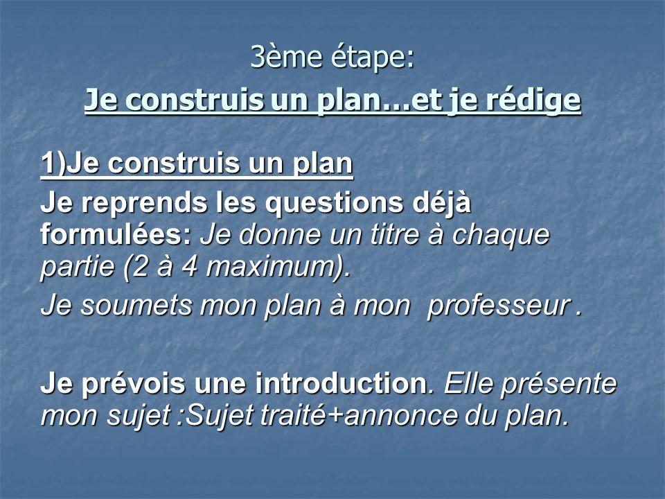 3ème étape: Je construis un plan…et je rédige
