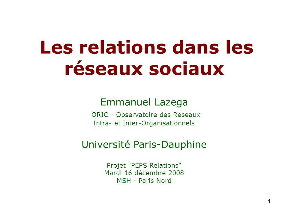 Les relations dans les réseaux sociaux Emmanuel Lazega ORIO - Observatoire des Réseaux Intra- et Inter-Organisationnels Université Paris-Dauphine Projet PEPS Relations Mardi 16 décembre 2008 MSH - Paris Nord