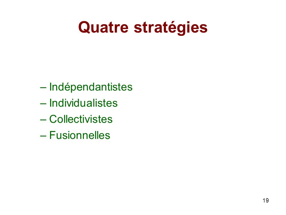 Quatre stratégies Indépendantistes Individualistes Collectivistes