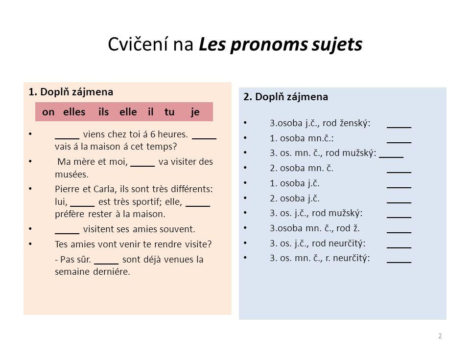 Cvičení na Les pronoms sujets ŘEŠENÍ