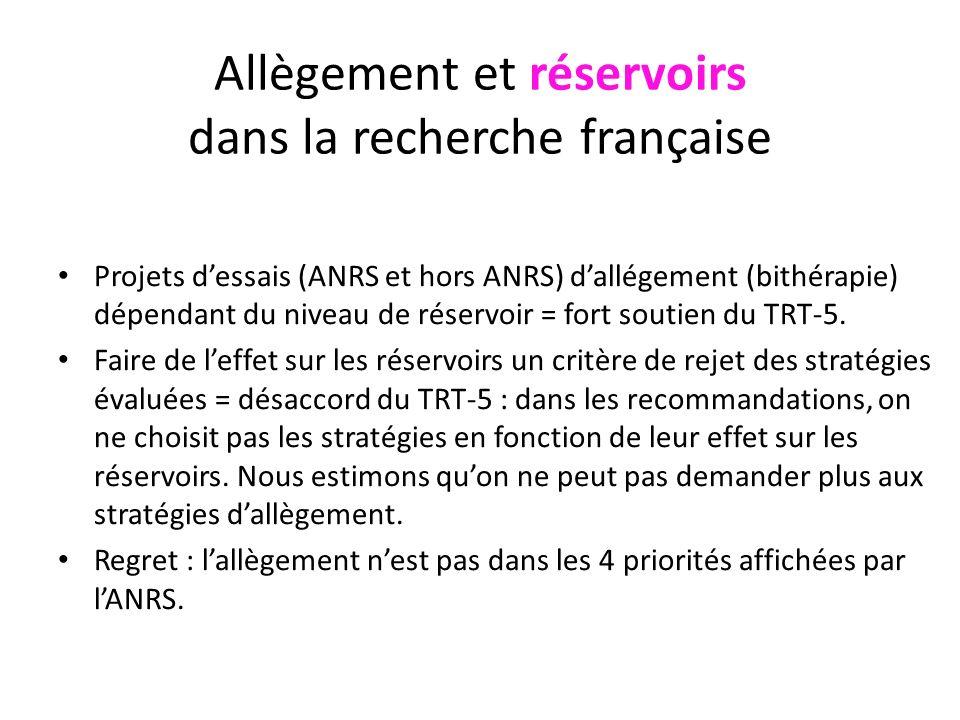 Allègement et réservoirs dans la recherche française