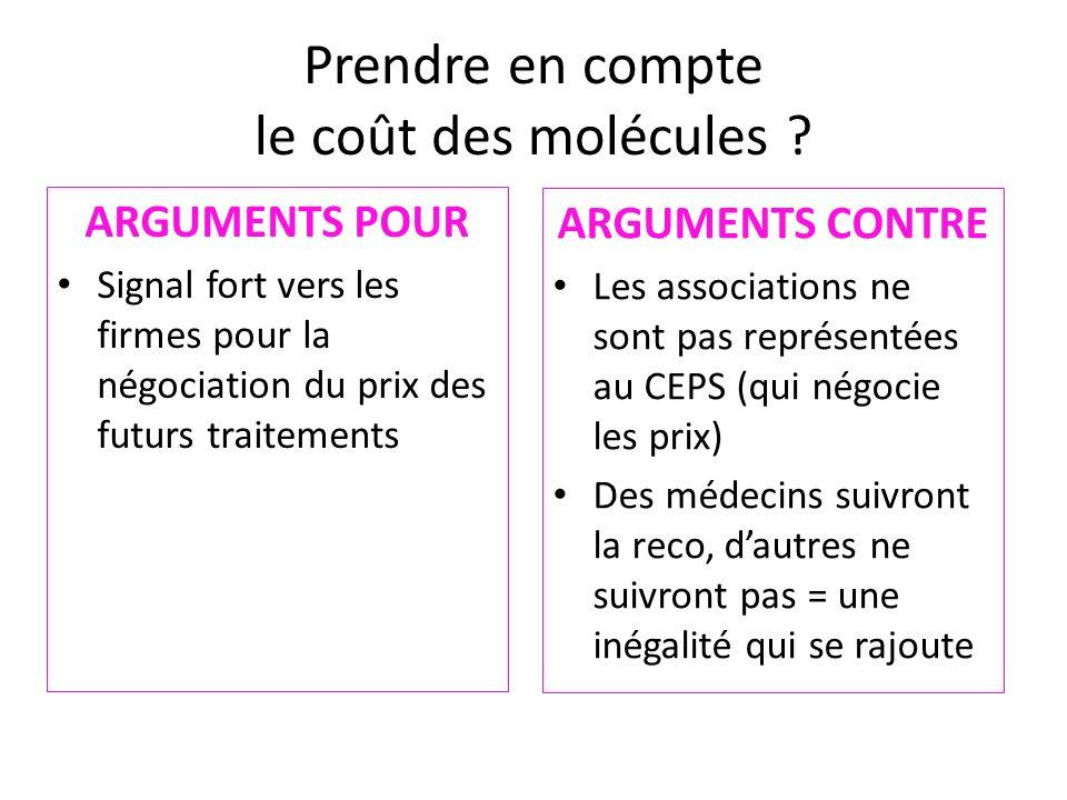 Prendre en compte le coût des molécules