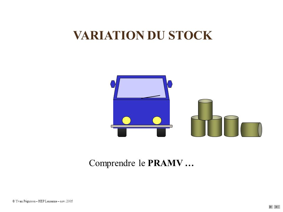 VARIATION DU STOCK Comprendre le PRAMV …
