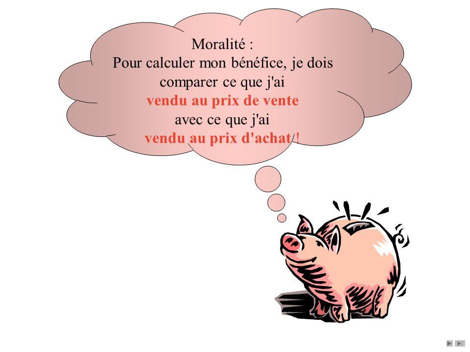Moralité : Pour calculer mon bénéfice, je dois comparer ce que j ai vendu au prix de vente avec ce que j ai vendu au prix d achat !
