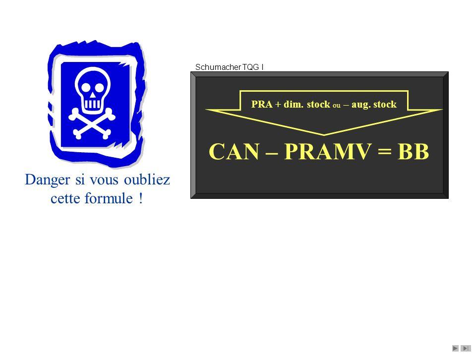 CAN – PRAMV = BB Danger si vous oubliez cette formule !