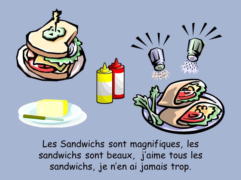 Les Sandwichs sont magnifiques, les sandwichs sont beaux, j'aime tous les sandwichs, je n'en ai jamais trop.