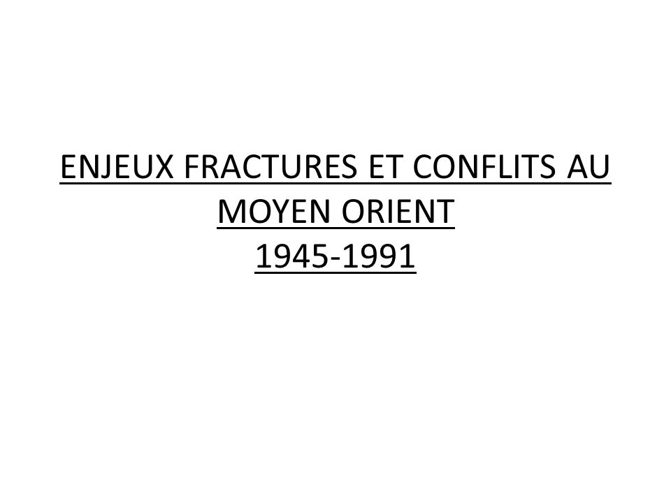 ENJEUX FRACTURES ET CONFLITS AU MOYEN ORIENT 1945-1991
