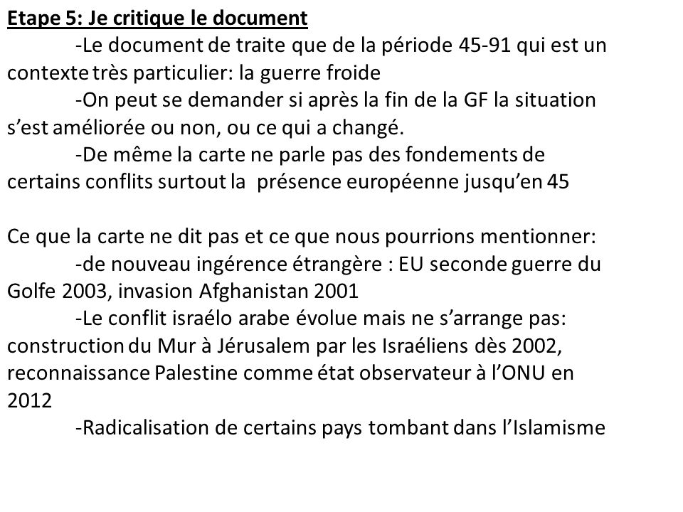 Etape 5: Je critique le document
