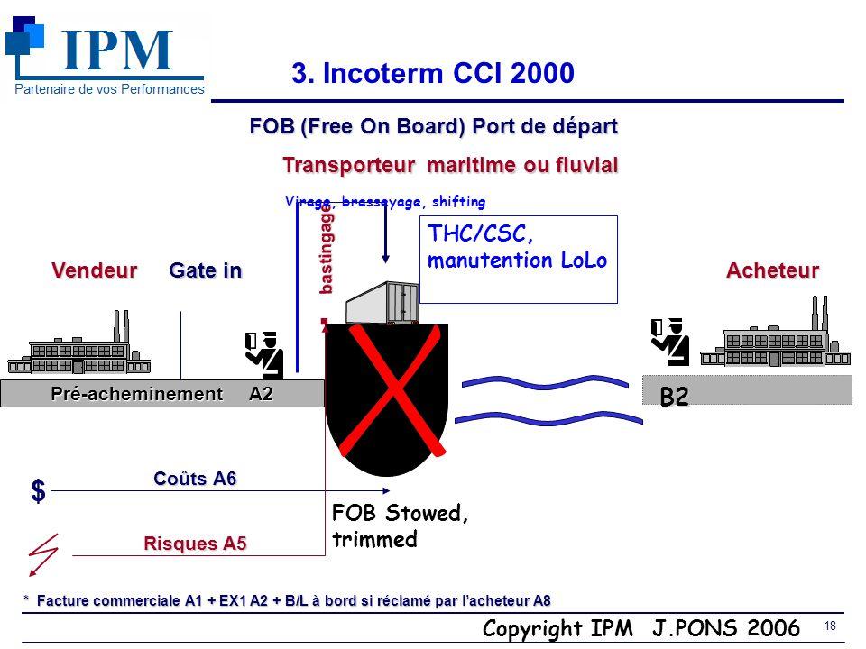 FOB (Free On Board) Port de départ Transporteur maritime ou fluvial