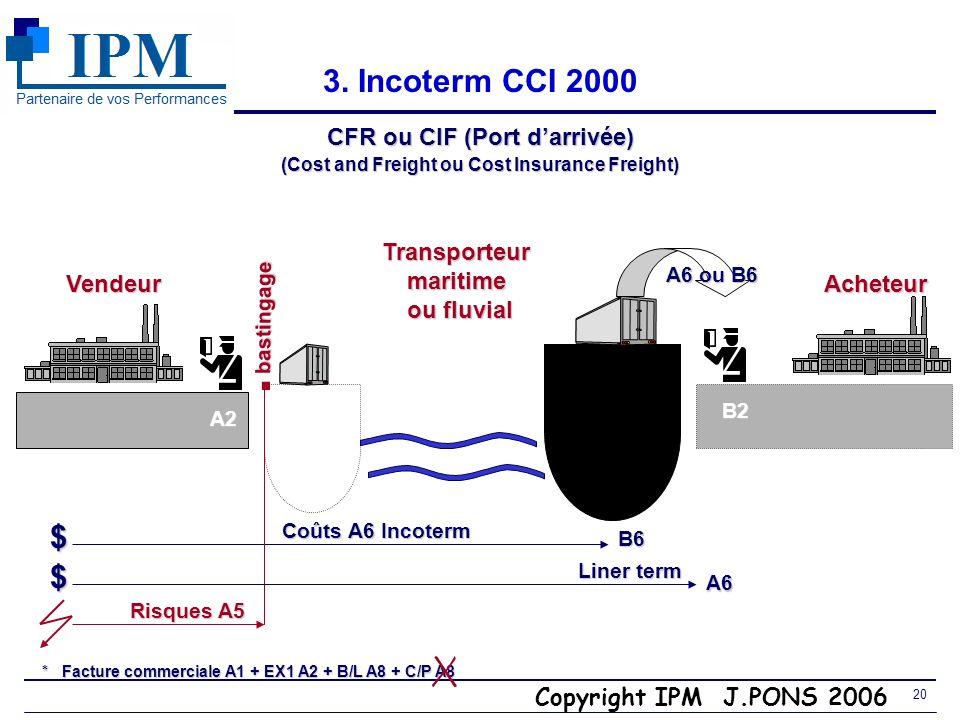 . 3. Incoterm CCI 2000 $ $ CFR ou CIF (Port d'arrivée) Transporteur
