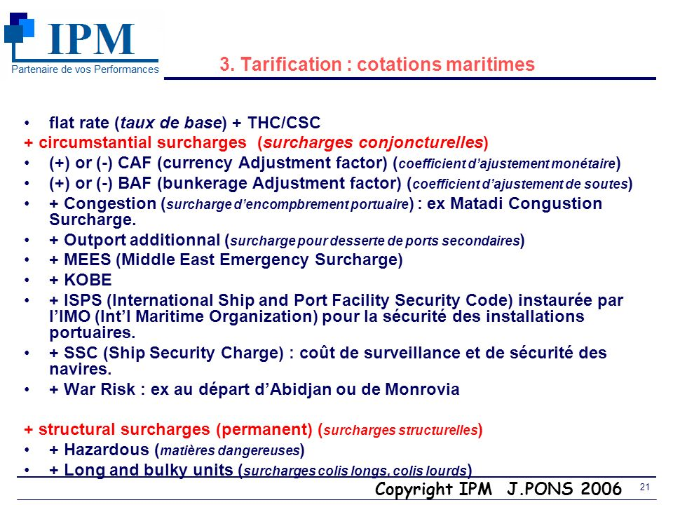 3. Tarification : cotations maritimes