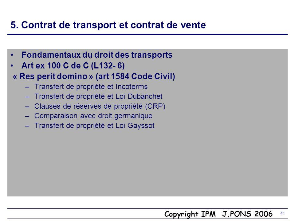 5. Contrat de transport et contrat de vente