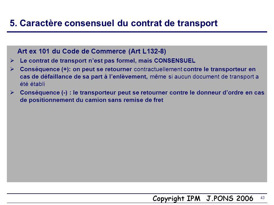 5. Caractère consensuel du contrat de transport