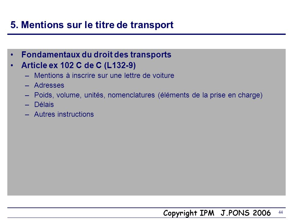 5. Mentions sur le titre de transport
